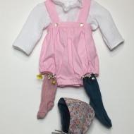 Fêter le printemps et la différence! Barboteuse, blouse en double gaze et dentelle, et chaussettes dépareillées  #bymesange #journeedelatrisomie21  #viveladifference  #chaussettesdepareillees